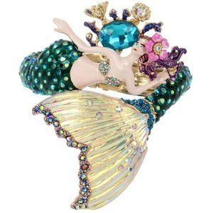 Betsey Johnson Mermaid Hinged Bangle Bracelet RARE